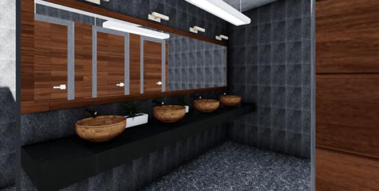 Modelado y renderizado de baños Sanchez y Sanchez Grupo Proteger Mini